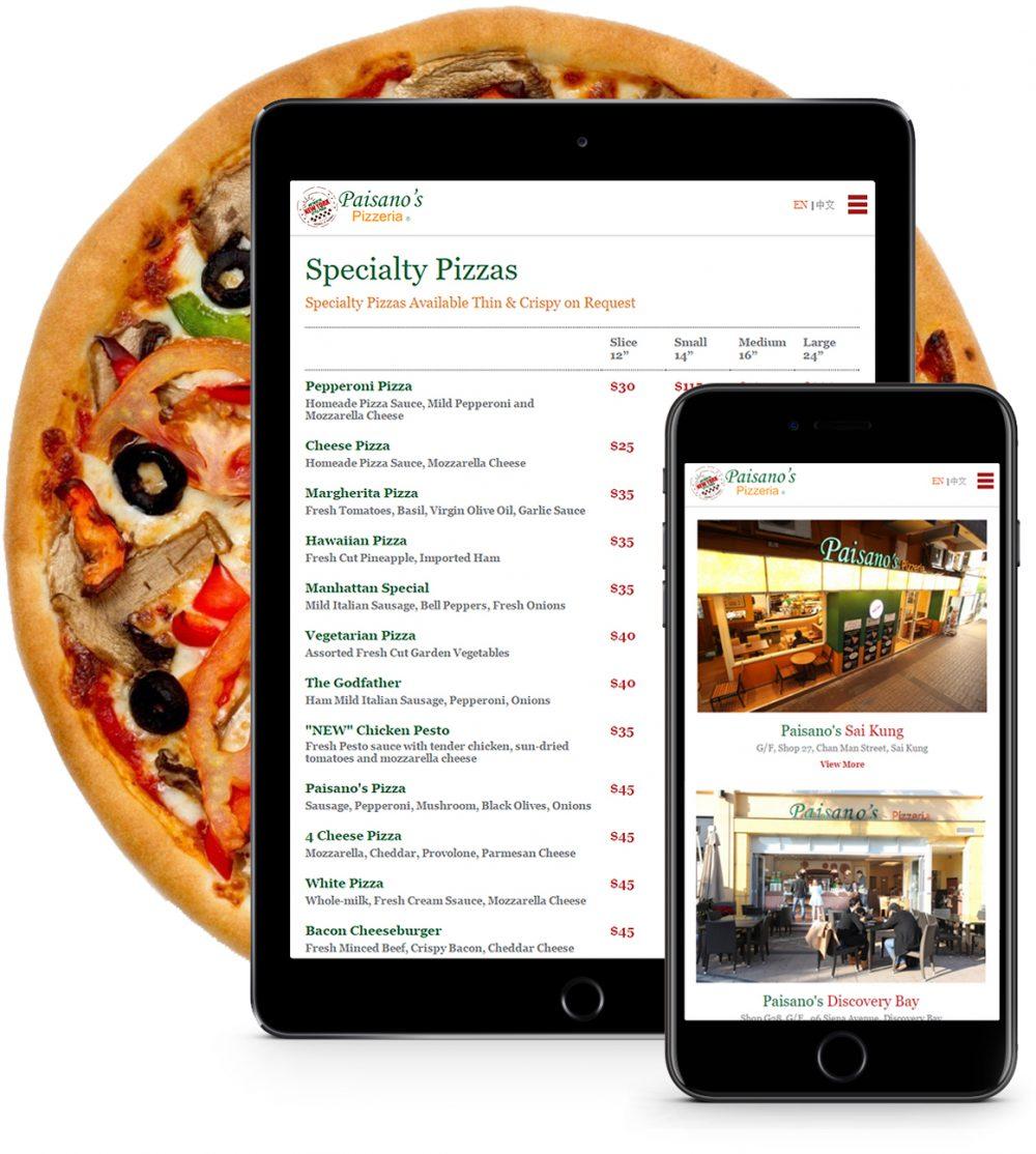 paisanos pizza web design